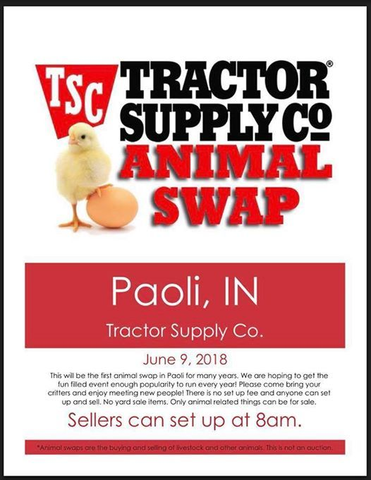 April animal swap! at Tractor Supply Co , Indiana