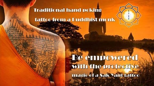 Traditional Buddhist hand poked tattoo from a Thai Monk