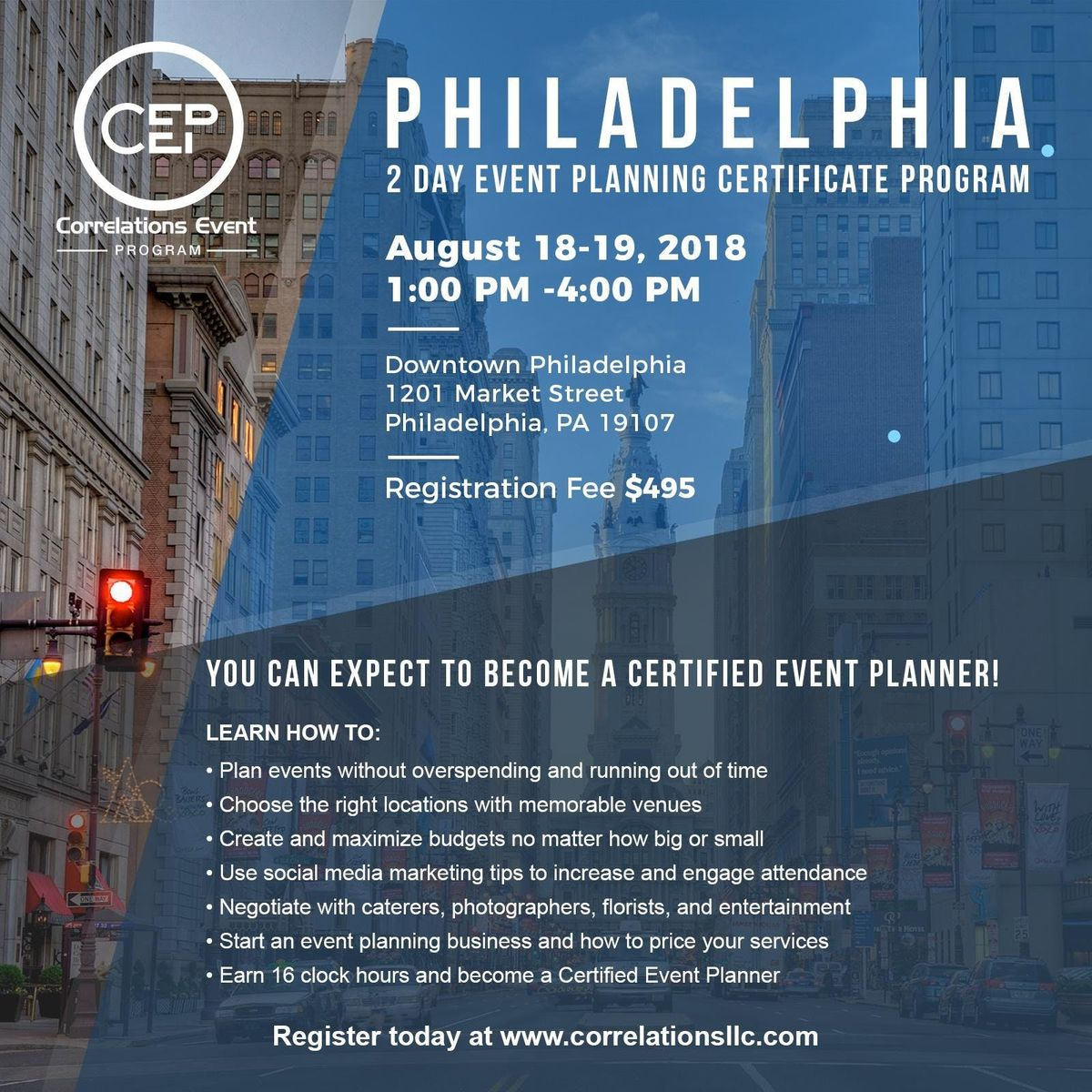 2 Day Philadelphia Event Planning Certificate Program August 18 19