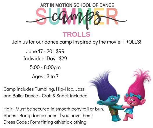 Trolls Tumbling Camp at Art in Motion School of Dance, Ohio