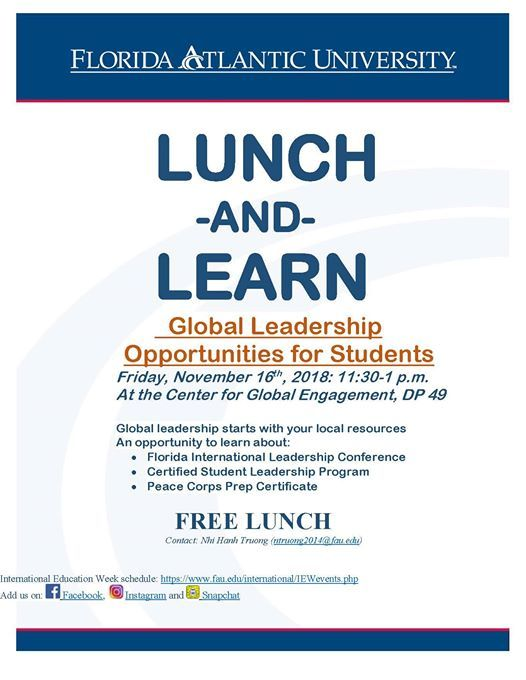 lunch learn at international students fau florida