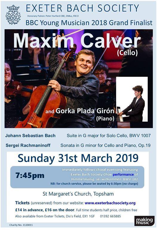 Cello Recital with Maxim Calver (BBCYM 2018 Finalist)