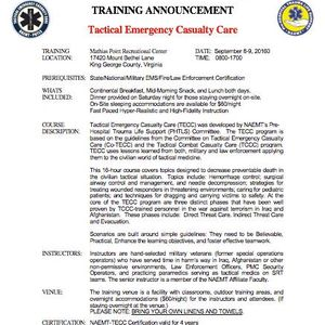 Tactical Emergency Casualty Care (TECC) Training at Mathias