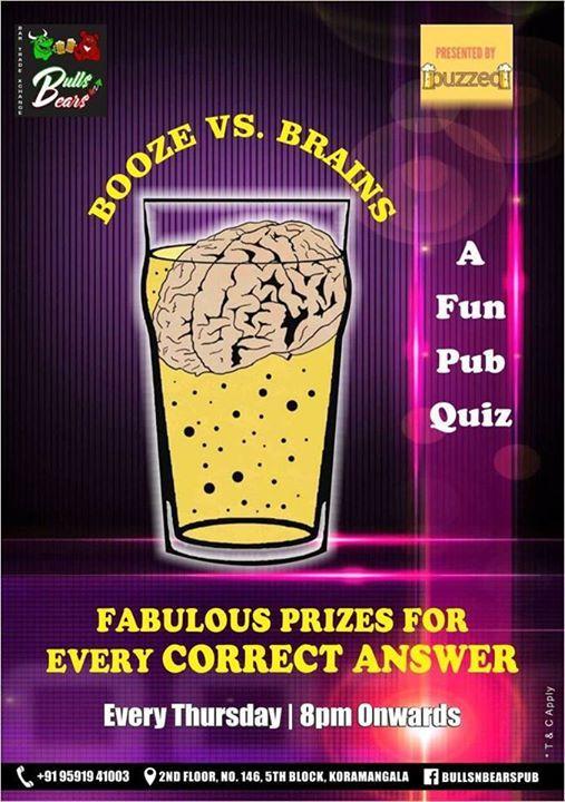 Booze vs Brains- A Fun Pub Quiz