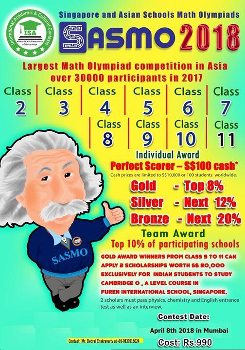 Singapore Asian Schools Mathematics Olympiad (SASMO) at Mumbai, Mumbai