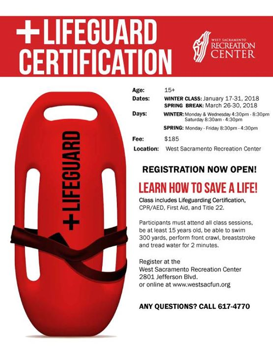 Lifeguard Certification Classes At West Sacramento Recreation Center