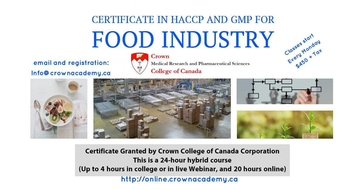 Crown Certificate in HACCP and GMP for the Food Industry