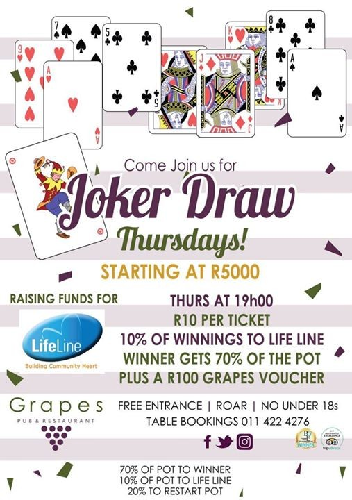 Lifeline And Grapes Weekly Joker Draw At Grapes Pub Restaurant