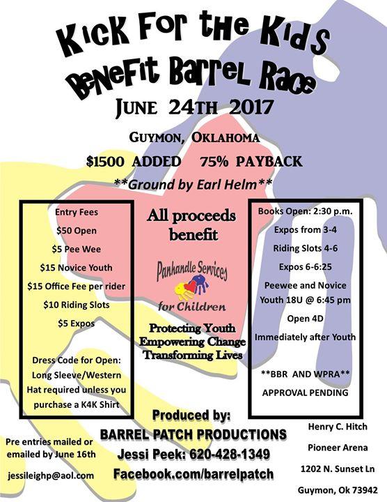 Kick for the Kids Benefit Barrel Race BBR & WPRA APPROVED