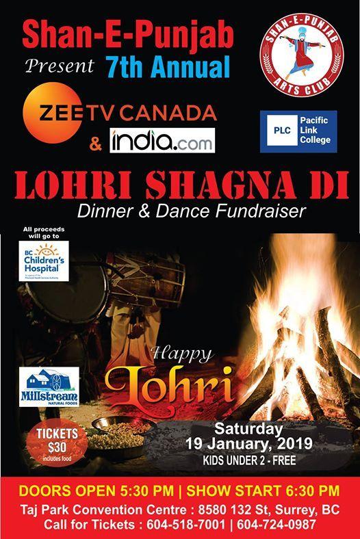 Zee TV Canada Lohri Shagna Di 2019 - Dinner & Dance Fundraiser