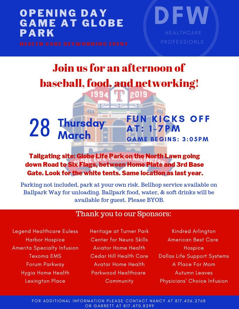 OPENING DAY GAME AT GLOBE PARK - HEALTHCARE NETWORKING EVENT