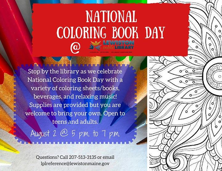 National Coloring Book Day At Lewiston Public Library Lewiston