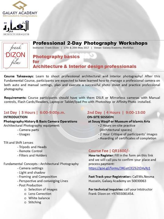 Day Photography Workshops For Architects Interior Designers At