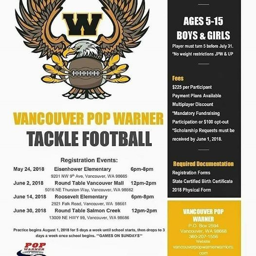 2018 tackle registration at round table pizza (13009 ne highway 99 ...