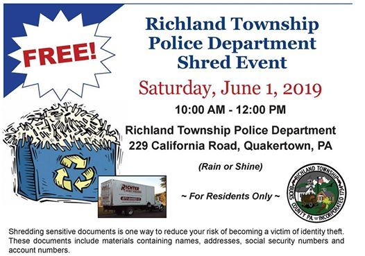 RTPD Shred Event for residents of Richland Township at 229