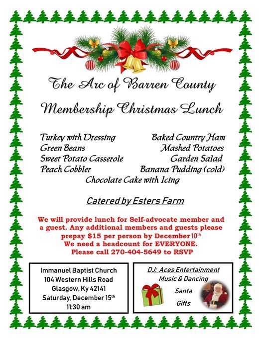 The Arc of Barren County Membership Christmas Lunch at
