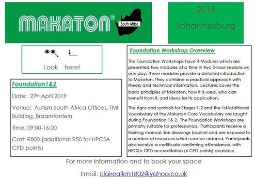 Makaton Foundation 1&2 at Autism South Africa, Gauteng