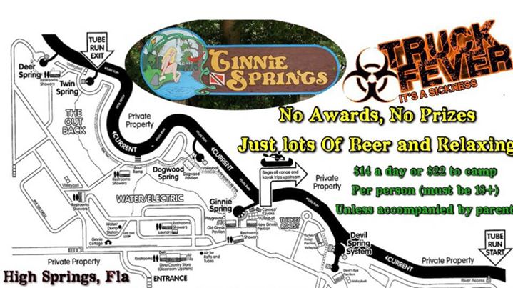 Ginnie springs Cinco De Drinko | High Springs on cozumel map, silver river state park map, manatee springs map, st. andrews state park map, caladesi island state park map, ichetucknee state park map, vortex springs map, peacock springs map, weeki wachee springs map, john pennekamp coral reef state park map, oscar scherer state park map, ponce de leon springs map, gilchrist county map, poe springs map, telford map, suwannee river state park map, alexander springs map, high springs fl map, long key state park map, the devil's highway map,