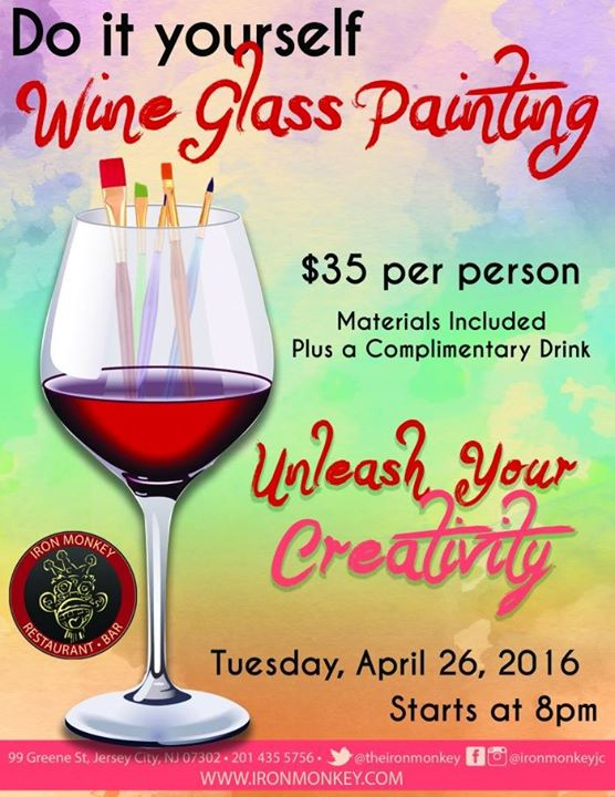 Do it yourself wine glass painting party at the iron for Do it yourself wine glasses