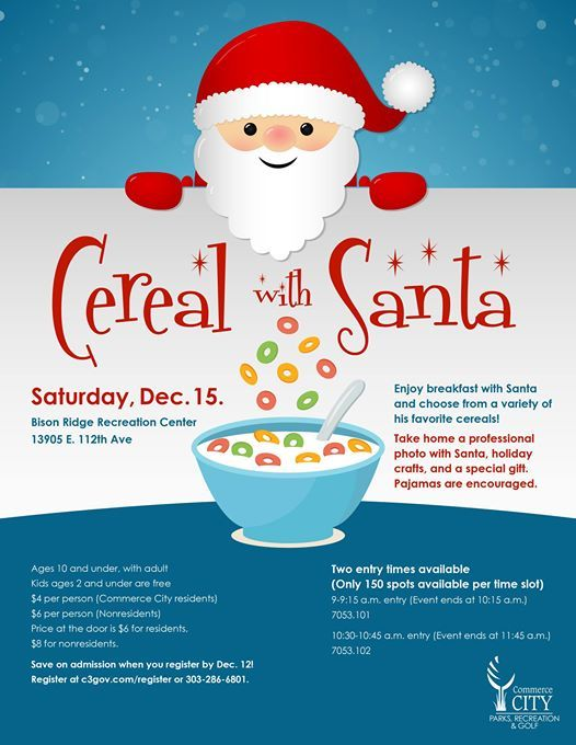 Cereal with Santa at Bison Ridge Recreation Center, Commerce