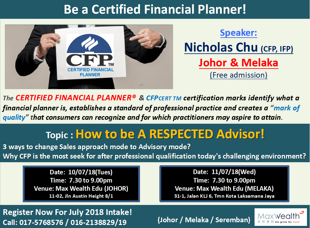 Certified Financial Planner (CFP) Preview Talk (Melaka) at Max ...