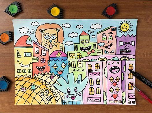 Singapore Cityscapes in James Rizzi Pop Art Workshop