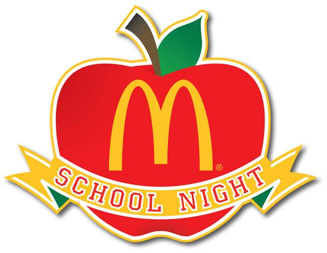 mcdonalds spirit night logo with apple and ribbon