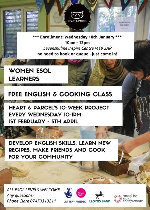 Heart & Parcel 10-week ESOL and Cooking project enrollment
