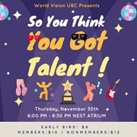 World Vision UBCs So You Think You Got Talent