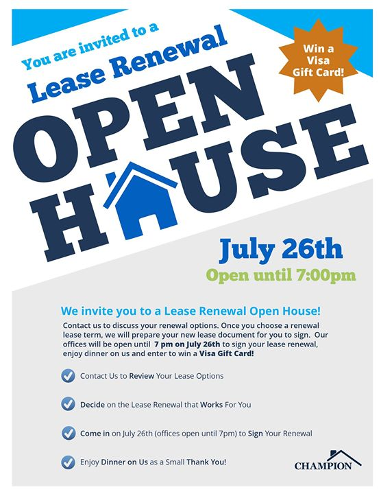 lease renewal open house at oak creek at polaris lewis center
