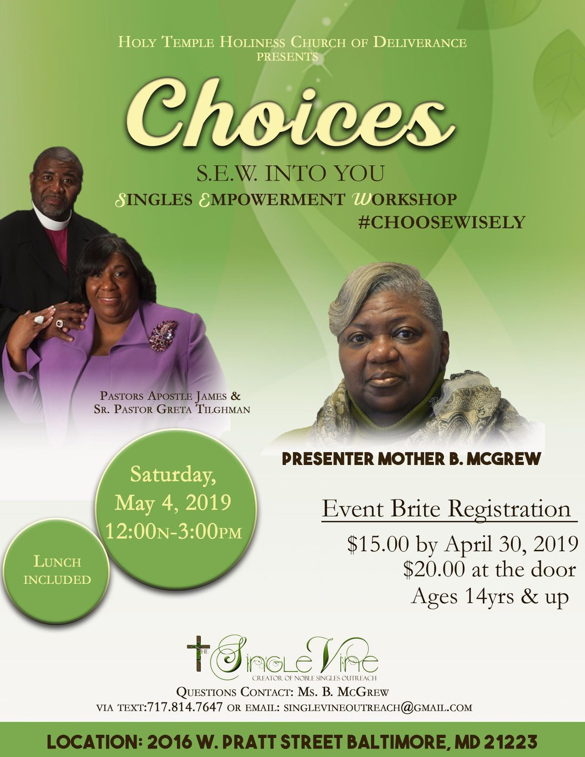 S E W  INTO U Singles Empowerment Workshop at Holy Temple Holiness