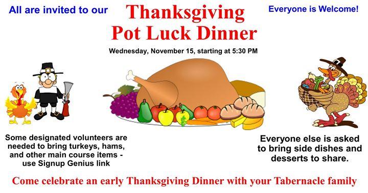 Thanksgiving Pot Luck Dinner & Fellowship