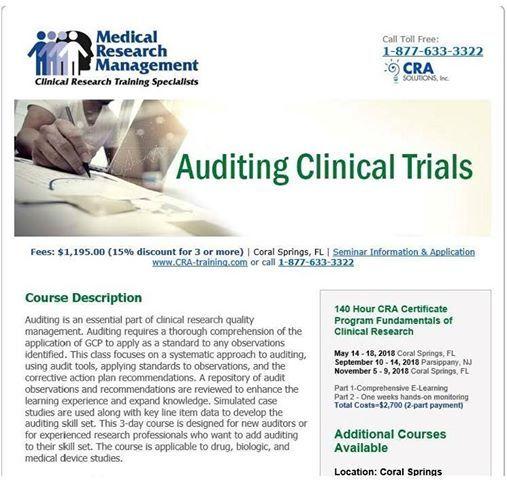 Auditing Clinical Trials Seminar at Medical Research