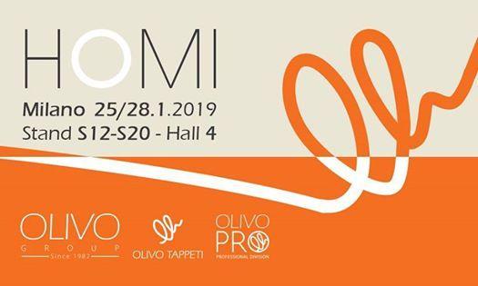 Olivo Tappeti HOMI 2528.1.2019 Milano Stand S12-S20  Hall 4