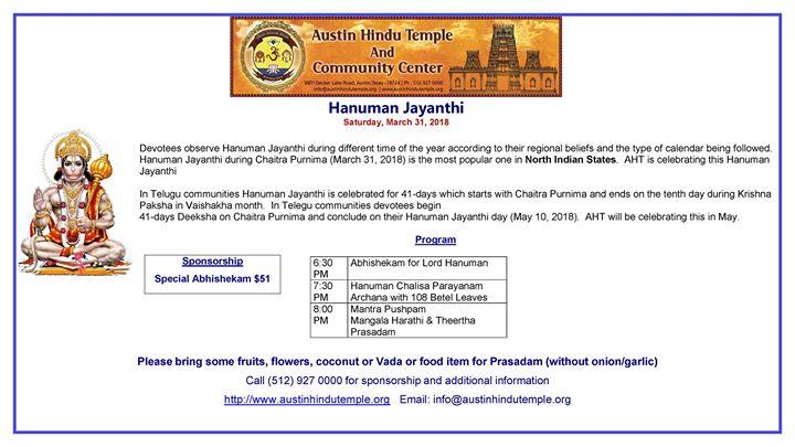 Hanuman Jayanthi at Austin Hindu Temple & Community Center
