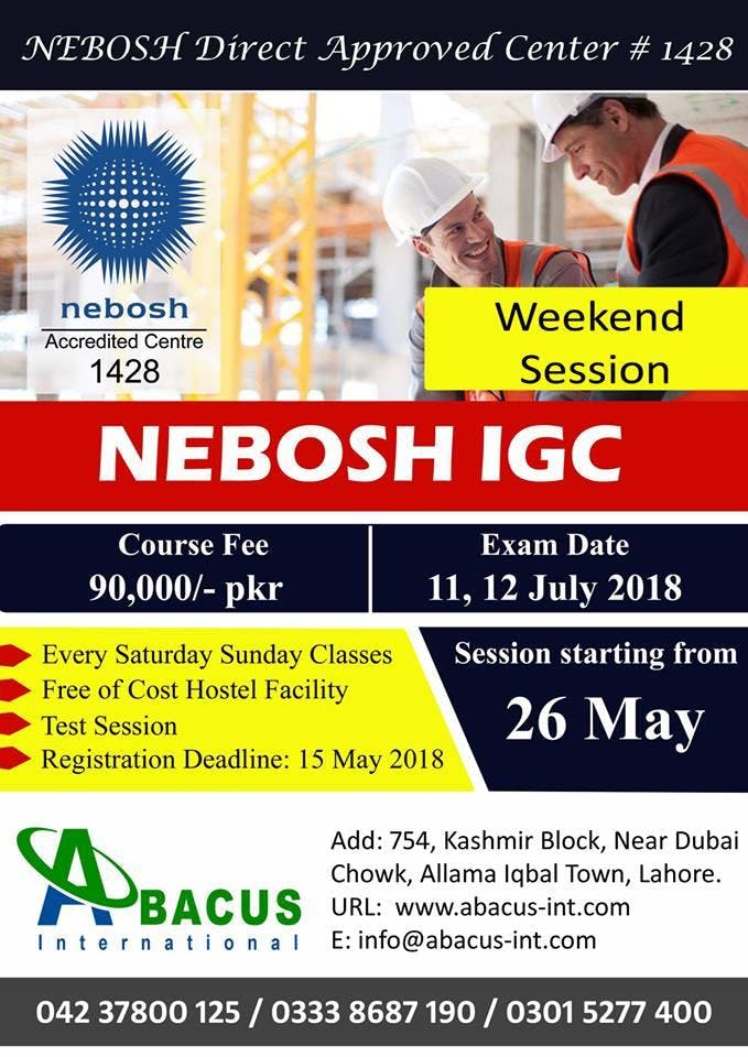 Nebosh Weekend session in lahore