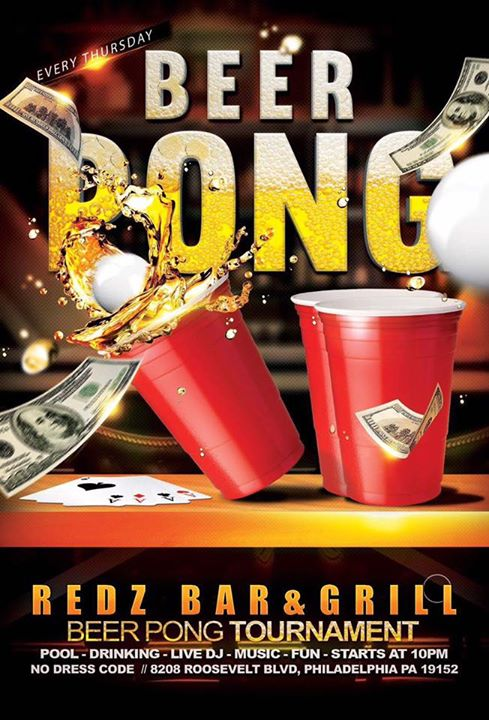 Beer Pong Tournament At Redz Bar And Grill Philadelphia
