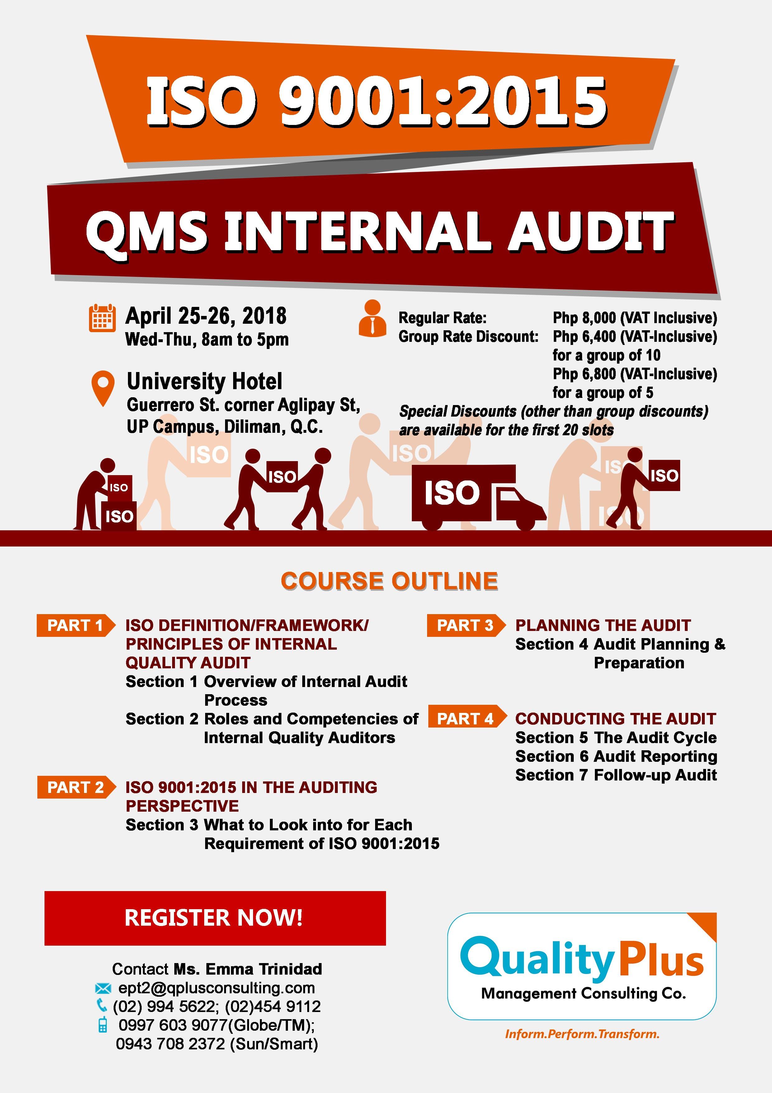 iso 9001:2015 qms internal audit at the university hotel, quezon city