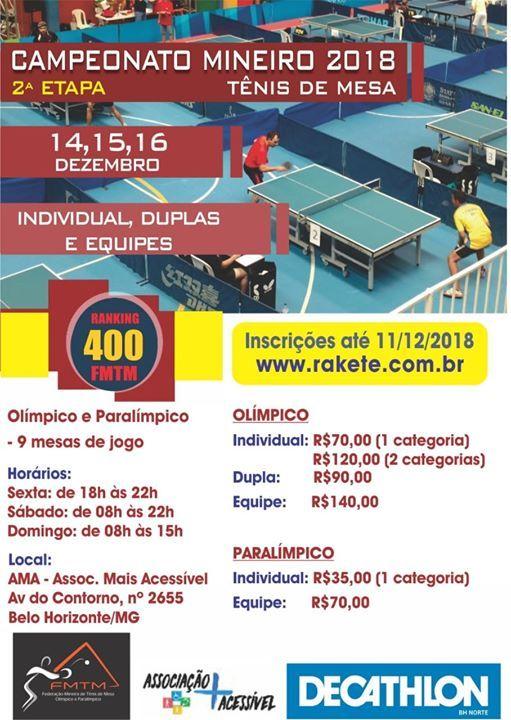0b157bbcd CAMPEONATO MINEIRO DE TÊNIS DE MESA 2018. INSCRIÇÕES ABERTAS PARA O MINEIRO  DECATHLON ...