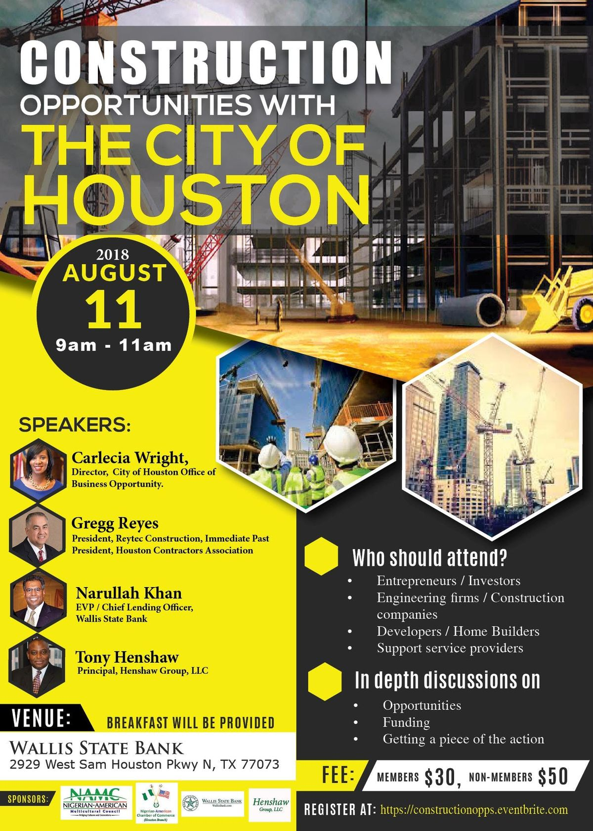 Construction Opportunities with the City of Houston at Wallis State