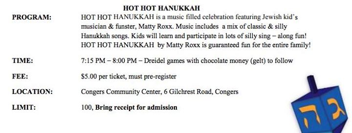 HOT HOT Hanukkah! At Congers Community Center, Congers