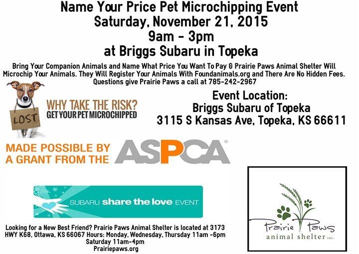 Name Your Price Pet Microchipping Event Briggs Subaru In Topeka At