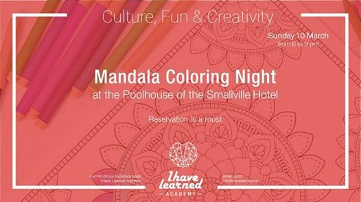 Mandala Coloring Night by the pool - I Have Learned Academy