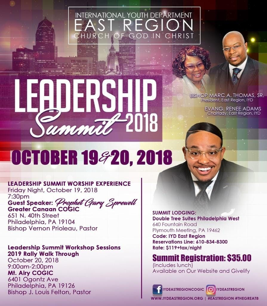 COGIC IYD East Region Leadership Summit 2018 at Greater Canaan COGIC