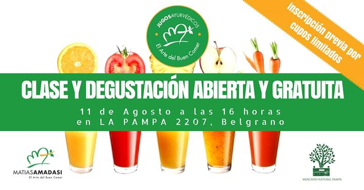Degustacin y clase de Jugos Naturales cold press