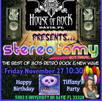 Friday Nov 27th It Tiffanys Birthday Bash At Cagneys Saloon With LIVE Music By Stereotomy At 10pm. Stereotomy take the stage at 1030pm
