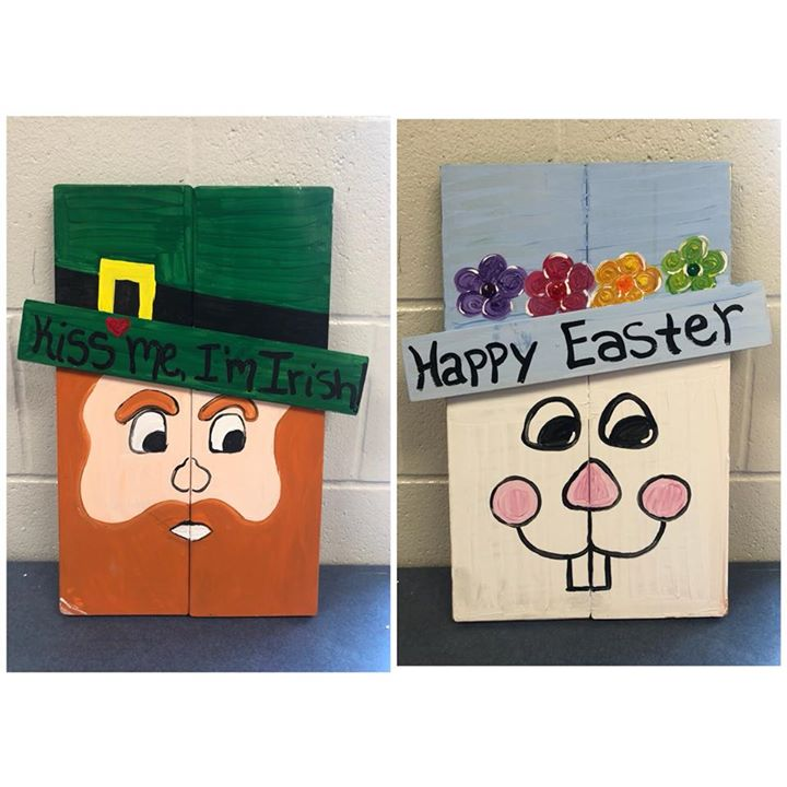 Reversible St Patricks Day And Easter Wood Signs At Rockstar Pizza