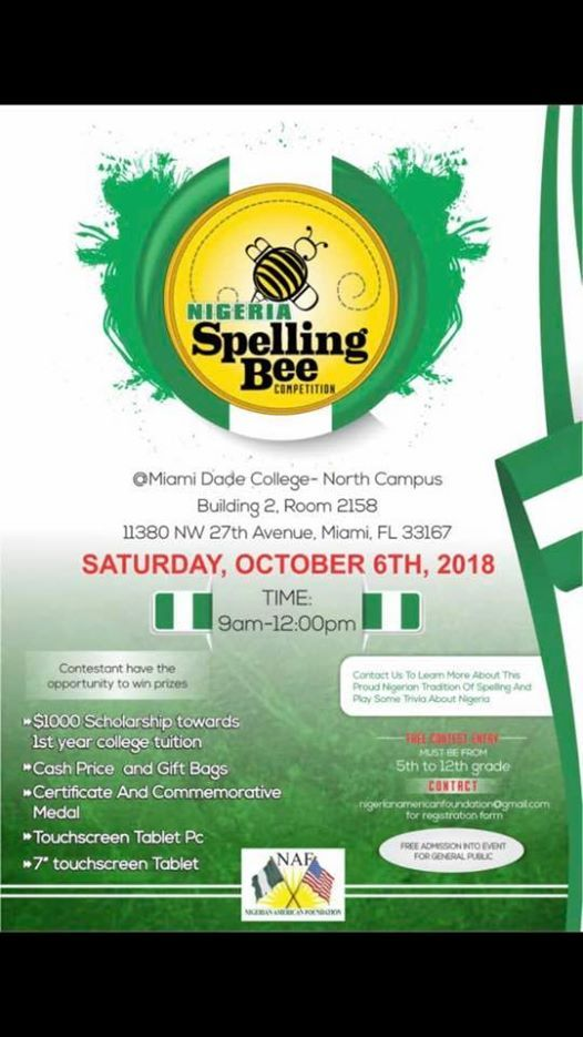 Nigerian Spelling Bee Competition at Miami Dade College North Campus