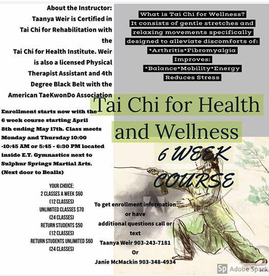 Tai Chi Morning Course Starts at Sulphur Springs ATA Martial Arts