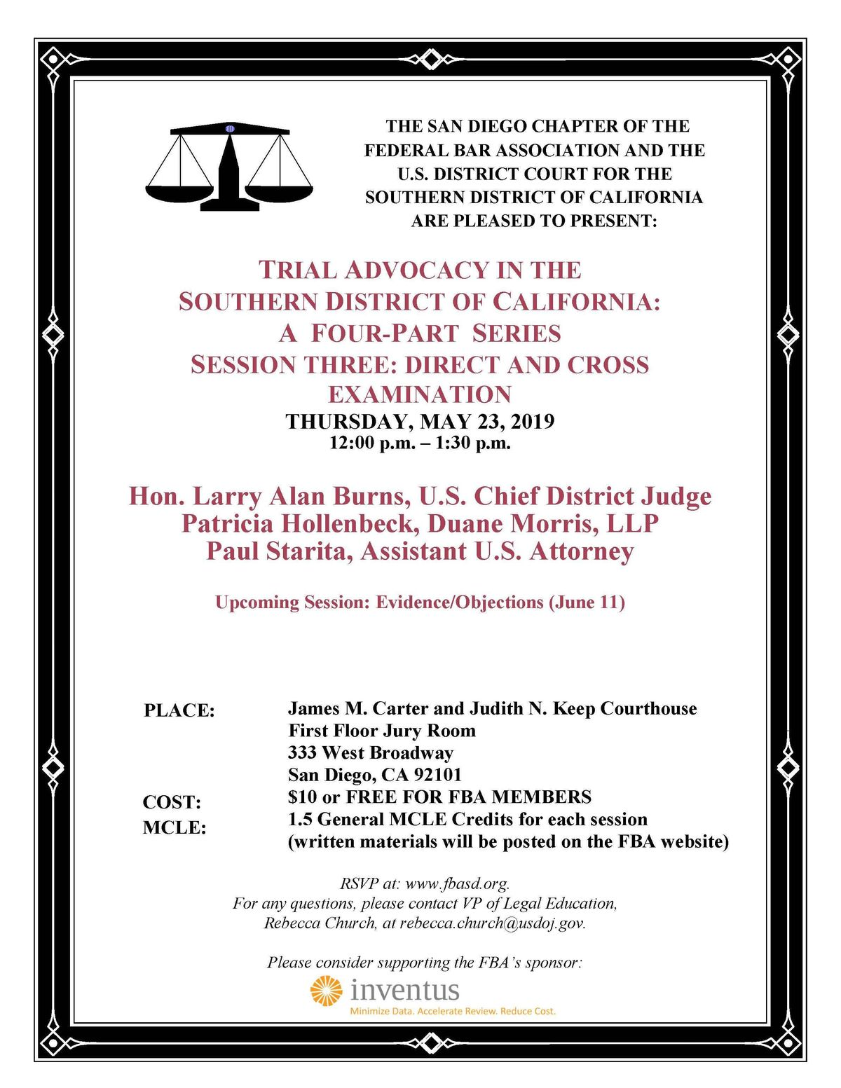 Trial Advocacy in the Southen District: Session Three Direct